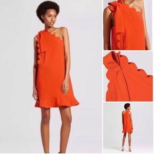 Victoria Beckham Orange One Shoulder Bow Dress S